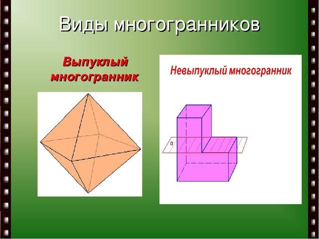 Виды многогранников Выпуклый многогранник