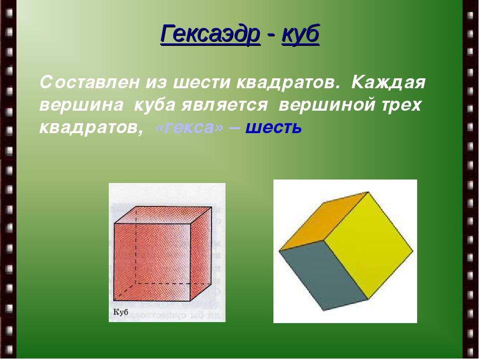 Гексаэдр - куб Составлен из шести квадратов. Каждая вершина куба является вер...