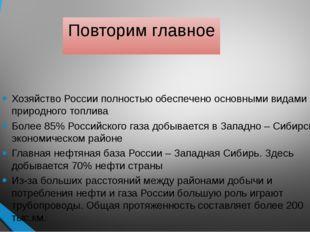 Повторим главное Хозяйство России полностью обеспечено основными видами приро