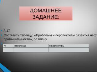 ДОМАШНЕЕ ЗАДАНИЕ: § 17 Составить таблицу: «Проблемы и перспективы развития не