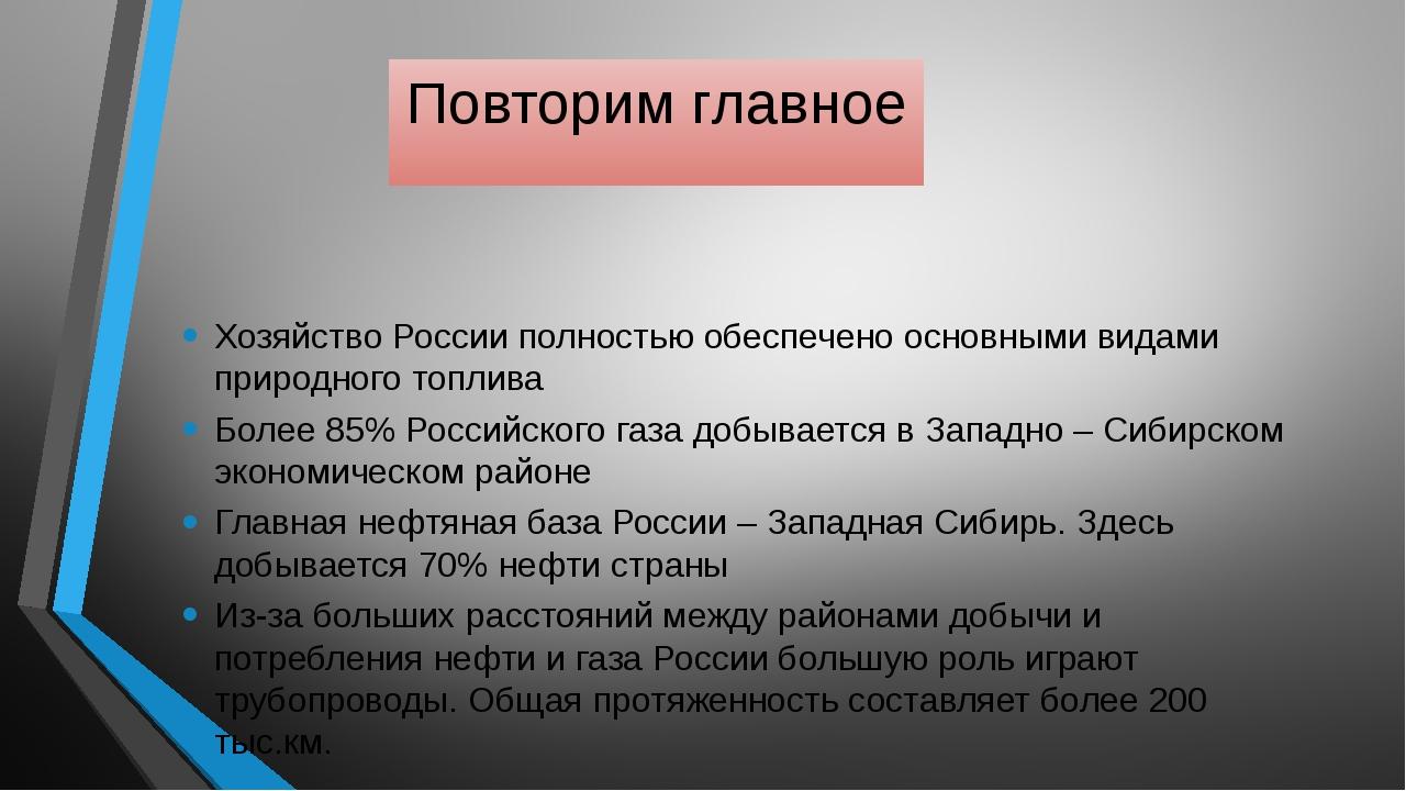 Повторим главное Хозяйство России полностью обеспечено основными видами приро...
