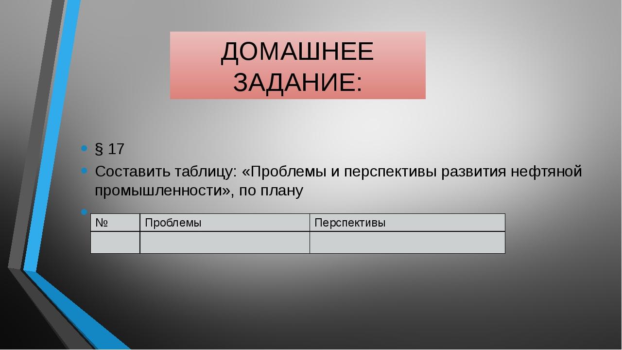 ДОМАШНЕЕ ЗАДАНИЕ: § 17 Составить таблицу: «Проблемы и перспективы развития не...
