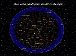 Все небо разделено на 88 созвездий