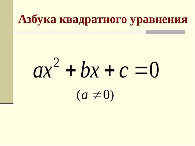 Азбука квадратного уравнения