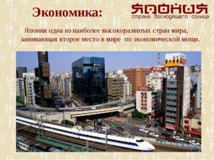 Экономика: Япония одна из наиболее высокоразвитых стран мира, занимающая втор