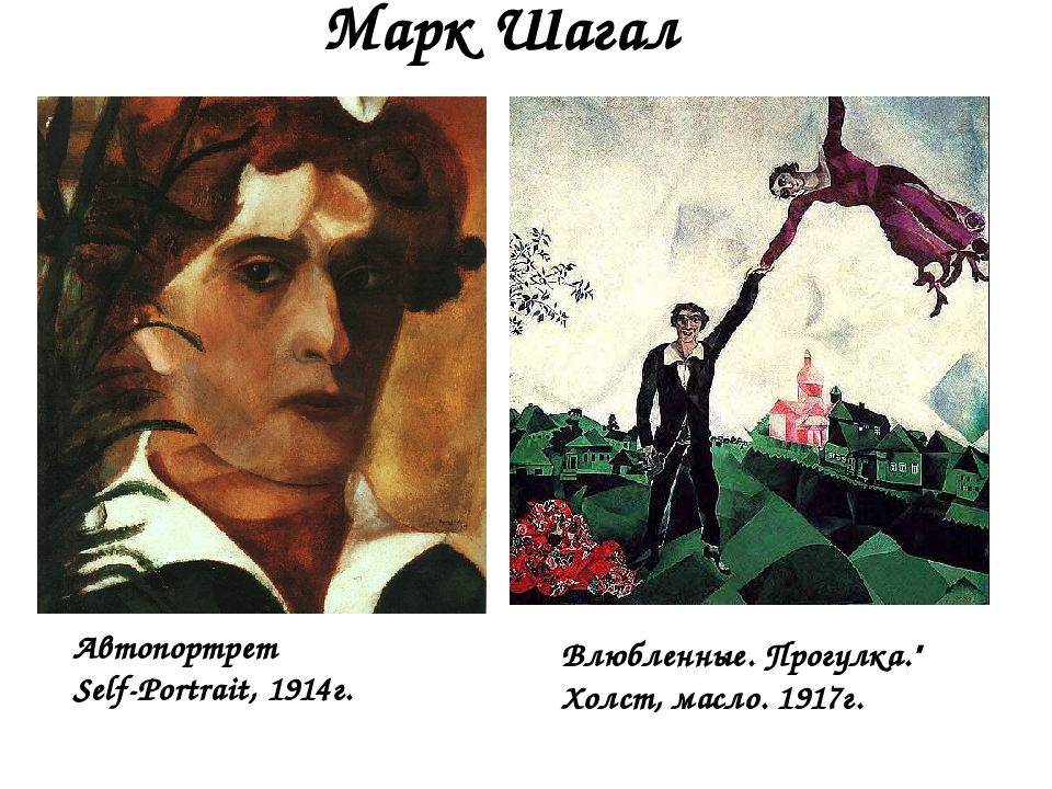 "Марк Шагал Влюбленные. Прогулка."" Холст, масло. 1917г. Автопортрет Self-Portr..."