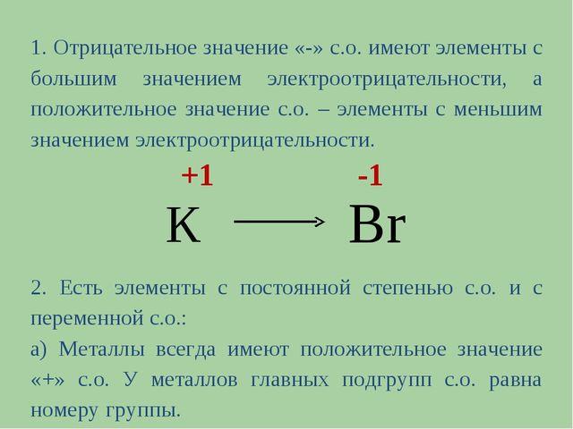 1. Отрицательное значение «-» с.о. имеют элементы с большим значением электро...
