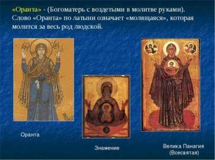 «Оранта» - (Богоматерь с воздетыми в молитве руками). Слово «Оранта» по латын