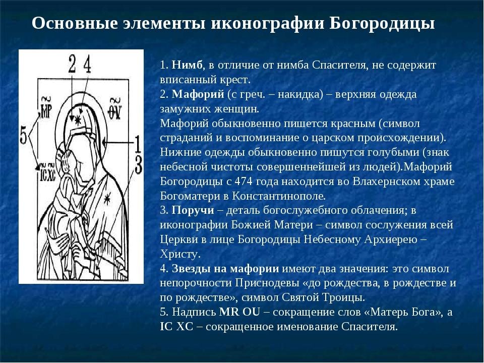 Основные элементы иконографии Богородицы 1. Нимб, в отличие от нимба Спасител...
