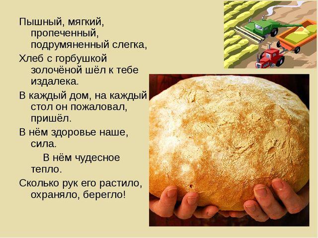 Пышный, мягкий, пропеченный, подрумяненный слегка, Хлеб с горбушкой золочёной...