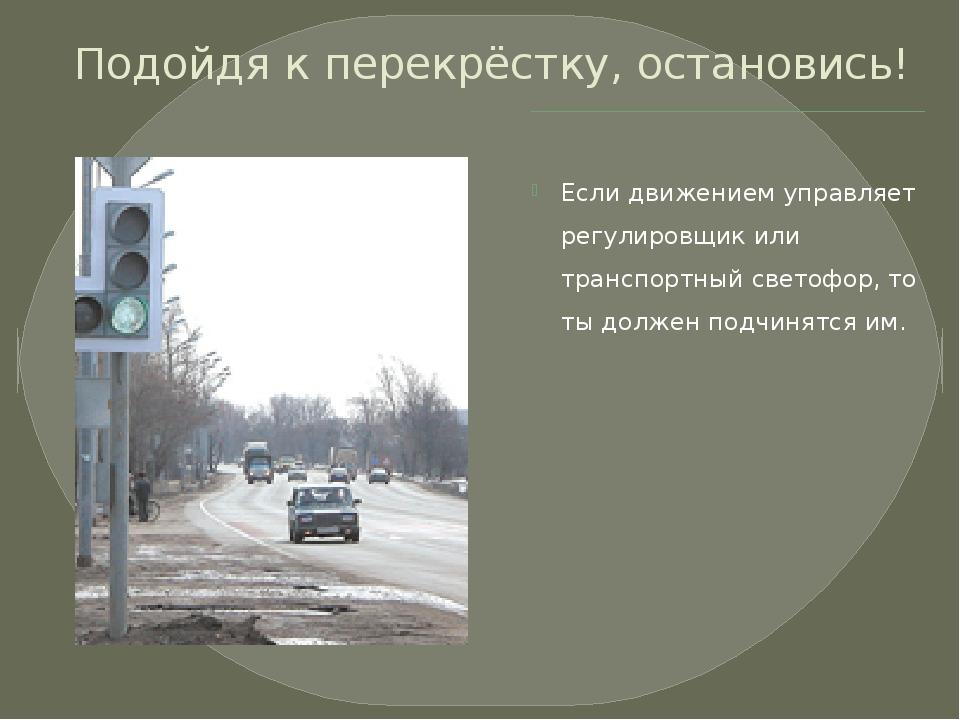 Подойдя к перекрёстку, остановись! Если движением управляет регулировщик или...