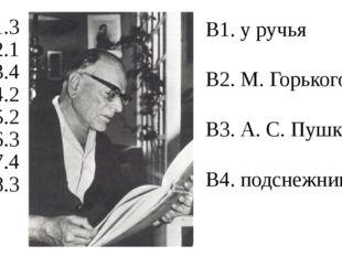 А1.3 А2.1 А3.4 А4.2 А5.2 А6.3 А7.4 А8.3 В1. у ручья В2. М. Горького В3. А. С.