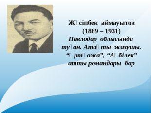 Текст надписи Жүсіпбек аймауытов (1889 – 1931) Павлодар облысында туған. Ата
