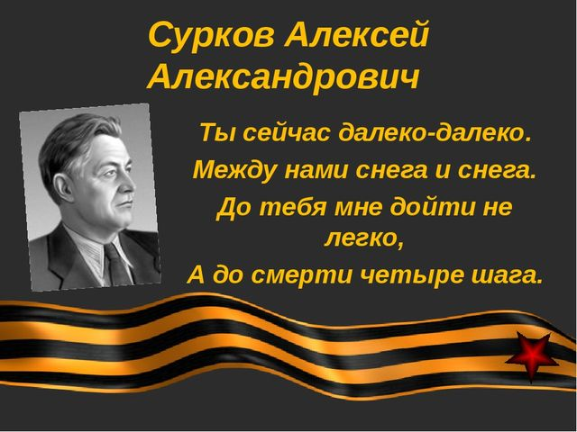 Сурков Алексей Александрович Ты сейчас далеко-далеко. Между нами снега и снег...