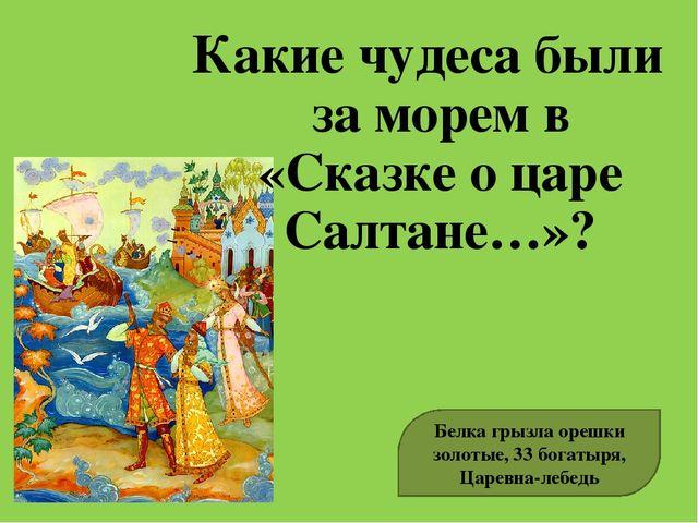 Какие чудеса были за морем в «Сказке о царе Салтане…»? Белка грызла орешки зо...