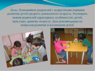 Цель: Познакомить родителей с возрастными нормами развития детей среднего дош