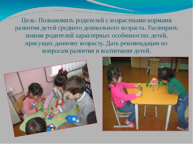 Цель: Познакомить родителей с возрастными нормами развития детей среднего дош...