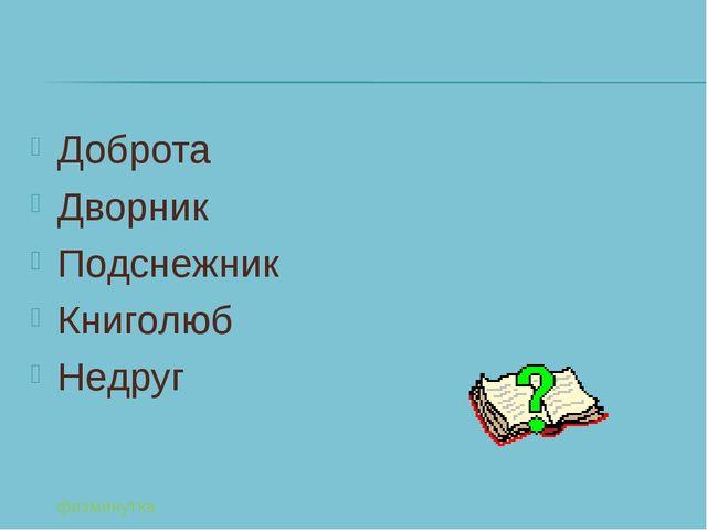 Доброта Дворник Подснежник Книголюб Недруг физминутка