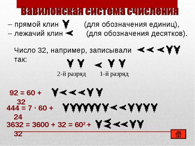 –прямой клин (для обозначения единиц), –лежачий клин (для обозначения десят...