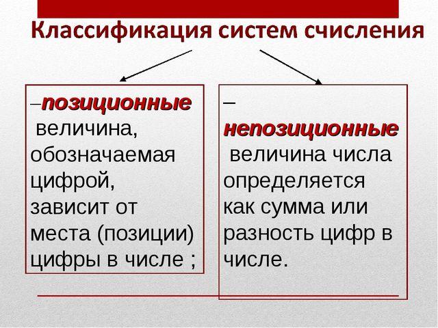 –позиционные величина, обозначаемая цифрой, зависит от места (позиции) цифры...