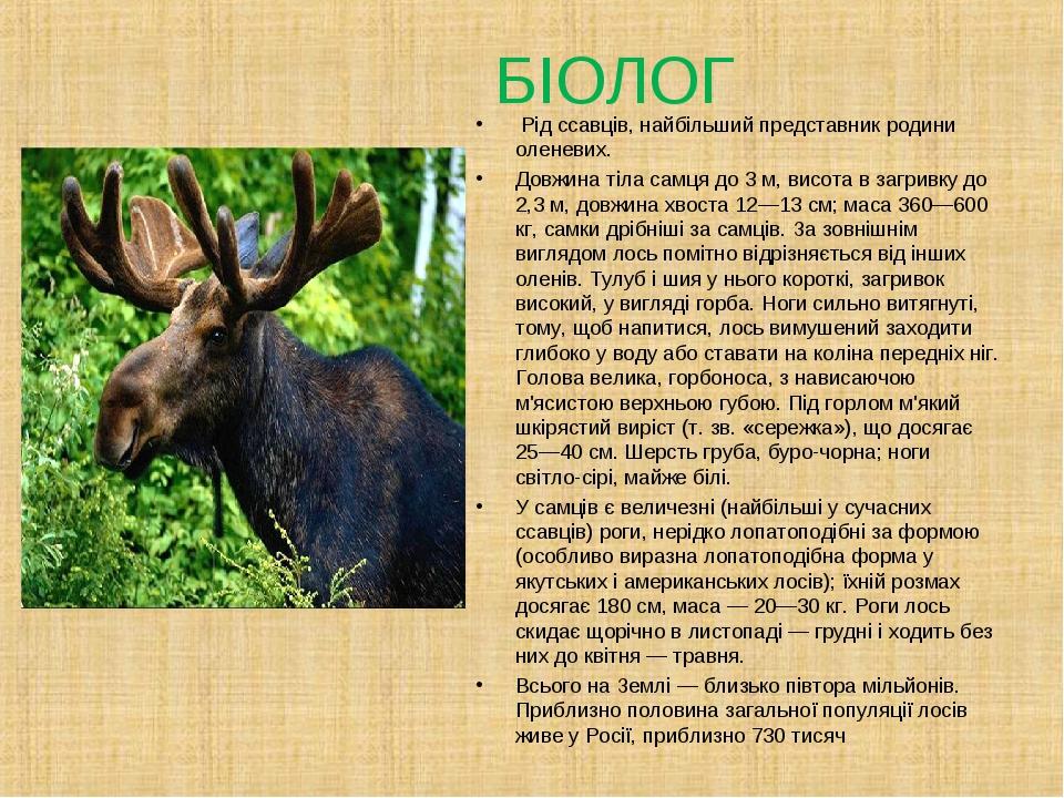 БІОЛОГ Рід ссавців, найбільший представник родини оленевих. Довжина тіла сам...