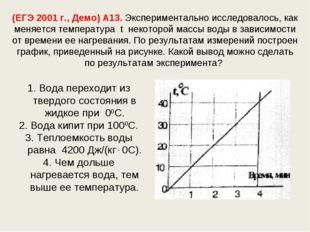 (ЕГЭ 2001 г., Демо) А13. Экспериментально исследовалось, как меняется темпера