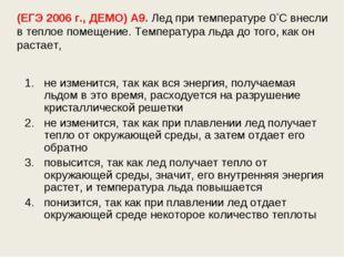 (ЕГЭ 2006 г., ДЕМО) А9. Лед при температуре 0С внесли в теплое помещение. Те