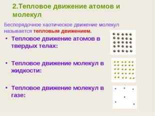 2.Тепловое движение атомов и молекул Тепловое движение атомов в твердых телах