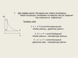 Дан график цикла. Пользуясь им, ответь на вопросы: - Какой изопроцесс изображ