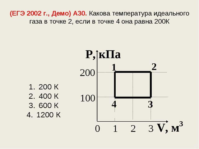(ЕГЭ 2002 г., Демо) А30. Какова температура идеального газа в точке 2, если в...