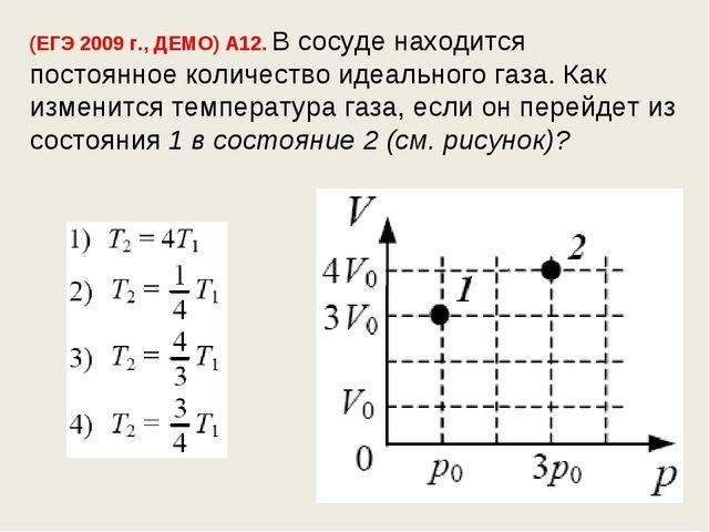 (ЕГЭ 2009 г., ДЕМО) А12. В сосуде находится постоянное количество идеального...