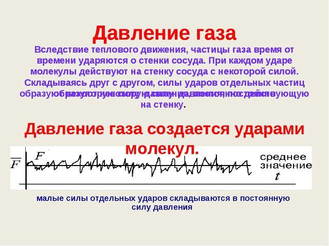 Давление газа Вследствие теплового движения, частицы газа время от времени уд...
