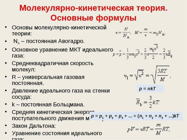 Молекулярно-кинетическая теория. Основные формулы Основы молекулярно-кинетиче...