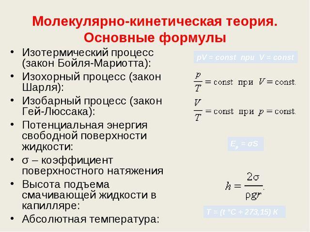 Молекулярно-кинетическая теория. Основные формулы Изотермический процесс (зак...