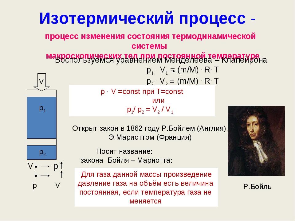 Изотермический процесс - V р1 р2 процесс изменения состояния термодинамическо...