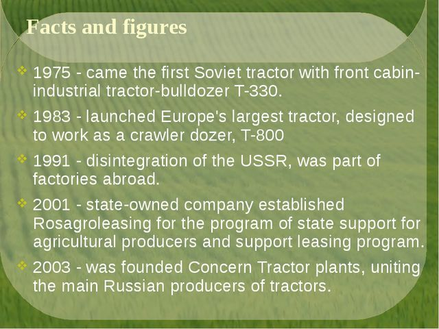 Facts and figures 1975 - came the first Soviet tractor with front cabin-indus...