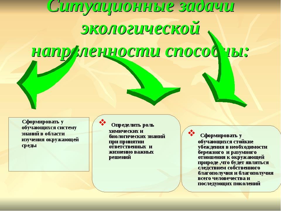 Ситуационные задачи экологической напрвленности способны: Сформировать у обу...