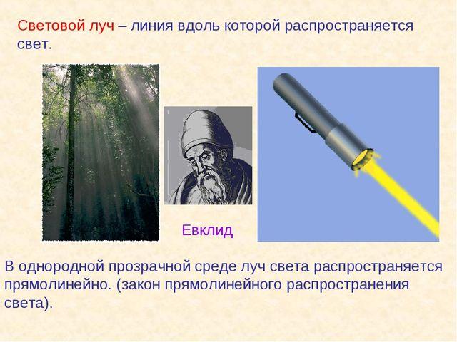 Световой луч – линия вдоль которой распространяется свет. В однородной прозра...