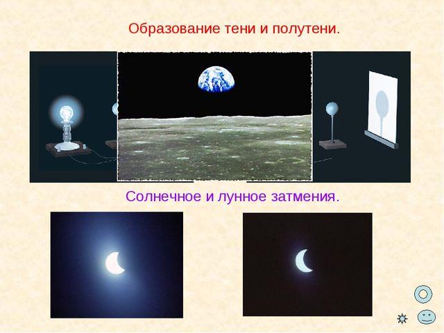 Образование тени и полутени. Солнечное и лунное затмения.