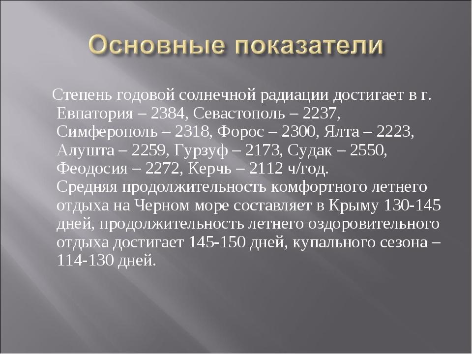 Степень годовой солнечной радиации достигает в г. Евпатория – 2384, Севастоп...