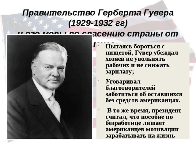 Правительство Герберта Гувера (1929-1932 гг) и его меры по спасению страны от...