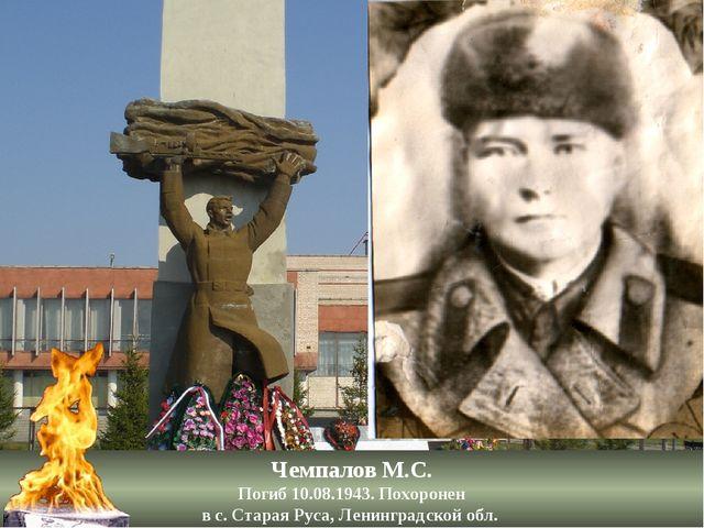 Чемпалов М.С. Погиб 10.08.1943. Похоронен в с. Старая Руса, Ленинградской обл.
