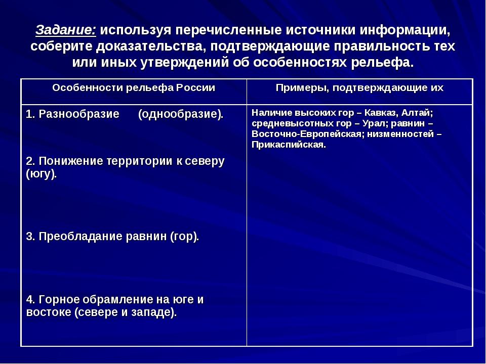 Задание: используя перечисленные источники информации, соберите доказательств...