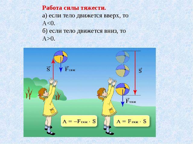 Работа силы тяжести. а) если тело движется вверх, то А0.