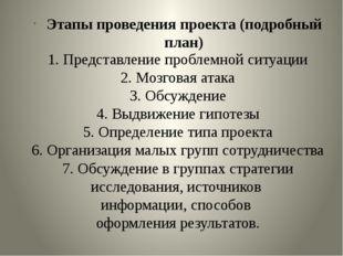1. Представление проблемной ситуации 2. Мозговая атака 3. Обсуждение 4. Выдв