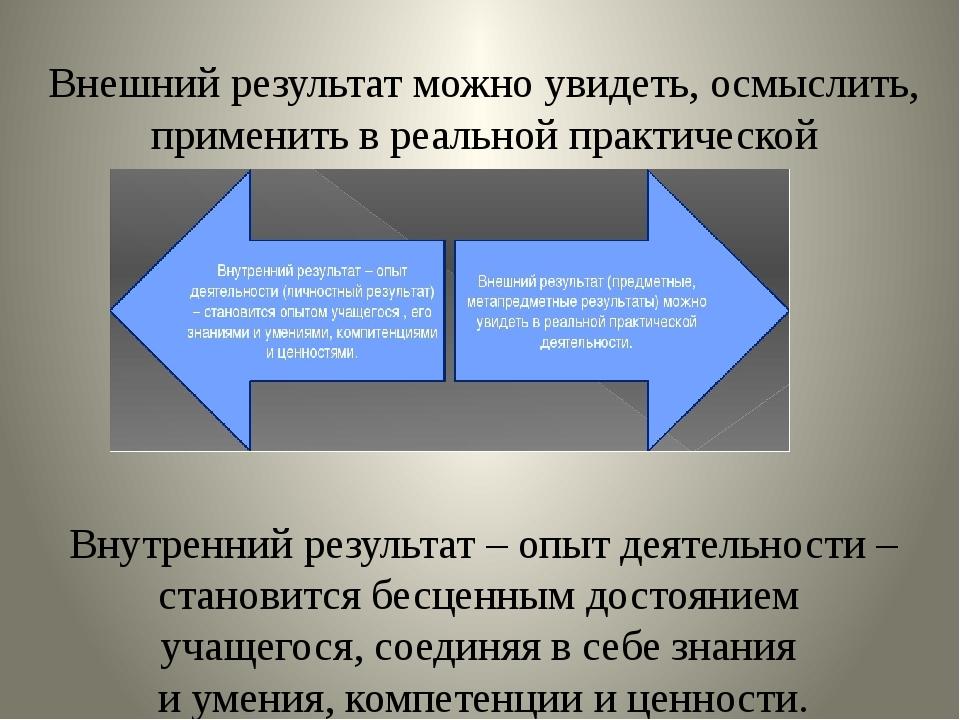 Внешний результатможно увидеть, осмыслить, применить в реальной практической...