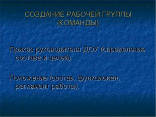 СОЗДАНИЕ РАБОЧЕЙ ГРУППЫ (КОМАНДЫ) Приказ руководителя ДОУ (определение состав