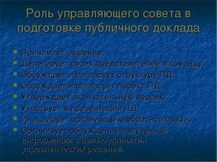 Роль управляющего совета в подготовке публичного доклада Принимает решение; Д