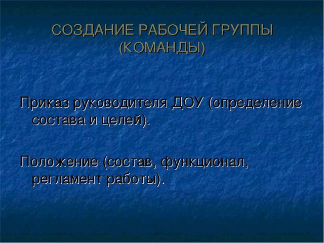 СОЗДАНИЕ РАБОЧЕЙ ГРУППЫ (КОМАНДЫ) Приказ руководителя ДОУ (определение состав...