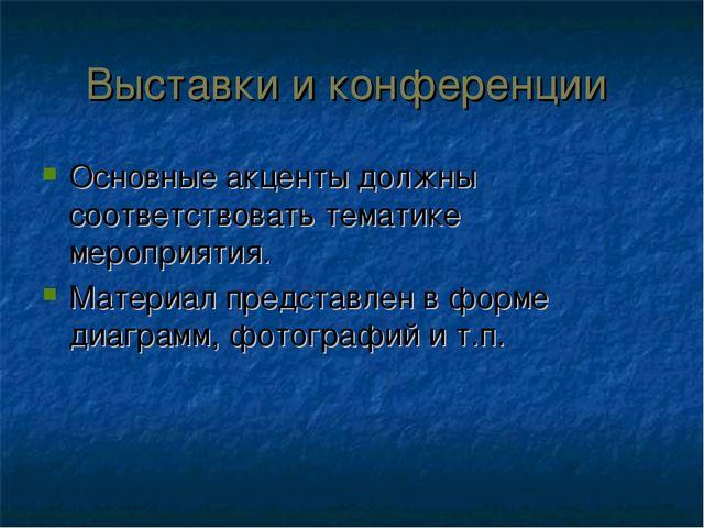 Выставки и конференции Основные акценты должны соответствовать тематике мероп...